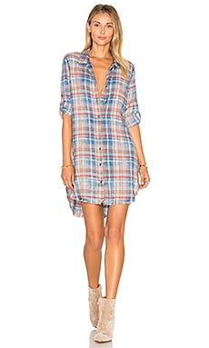 Bella Dahl Frayed Hem Shirt Dress in Aberdeen Indigo Wash