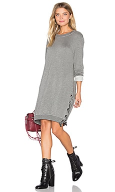 Lace Up Sweatshirt Dress en Gris Chiné