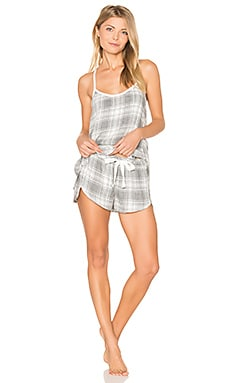 Oxford Plaid Cami & Short Set in Grau meliert