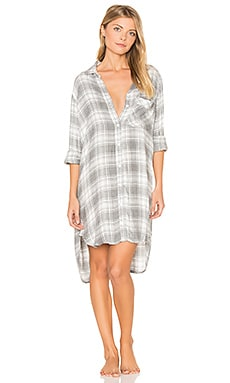 Oxford Plaid Sleep Shirt in Grau meliert