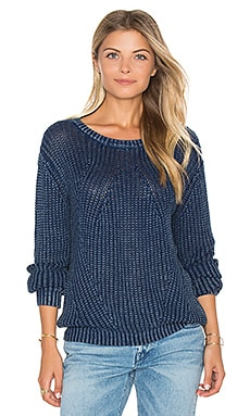 Distressed Dye Sweater in Indigo