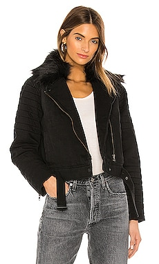 Puffer Moto Faux Fur Collar Jacket Bella Dahl $180 NEW ARRIVAL
