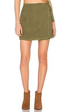 Frayed Wrap Skirt