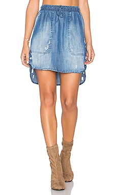 Distressed Mini Skirt in Ripped Wash