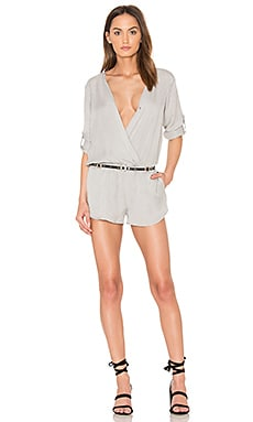 Cross Front Romper in Pebble Grey