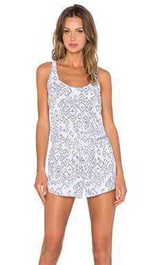 Bella Dahl Sporty Romper in Black & White Tribal