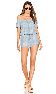 Off Shoulder Romper in Sky Valley Wash