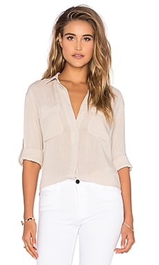 Split Back Button Down in Beige