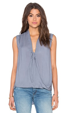 Sleeveless Drape Front Top in Morning Fog