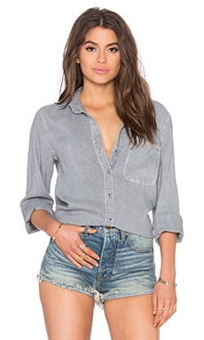 Shirt Tail Button Down in Sky Grey