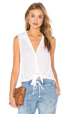 Sleeveless Button Down Check en Blanc