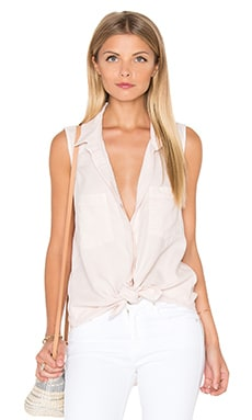 Sleeveless Boyfriend Shirt in Rose Quartz