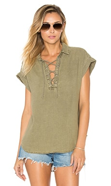 Cap sleeve Lace Up Top in Oakmoss
