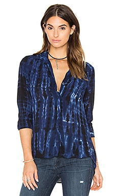 Tie Dye Pocket Button Down in Blue Indigo