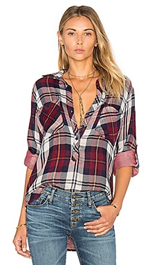 Bella Dahl Rosslyn Double Plaid Pullover Button Down in Russet