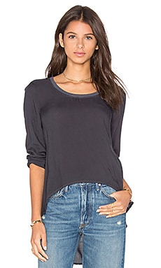 Rib Neck Top in Pepper