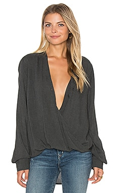 Drape Front Top in Dark Charcoal