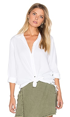 Side Lace Button Down in White