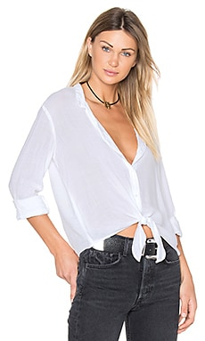 Tie Front Button Up in White