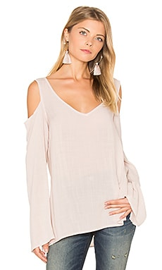 Cold Shoulder V Neck Blouse in Moonlit Mauve