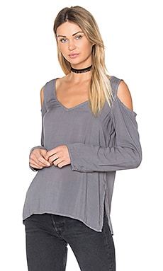Cold Shoulder V Neck Blouse in Warm Onyx