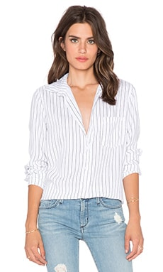 Bella Dahl Pocket Stripe Button Up Top in White