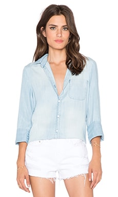 Bella Dahl Button Up Top in Faded Light Wash