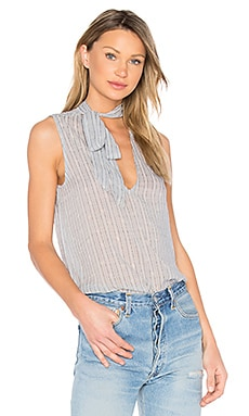 Stripe Print Tie Neck Top in Starlight