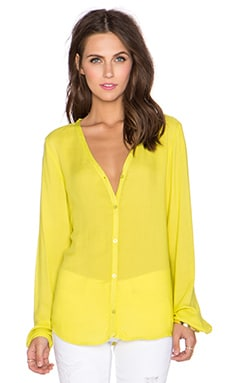 Bella Dahl Drape Back Button Down Top in Lime Pop