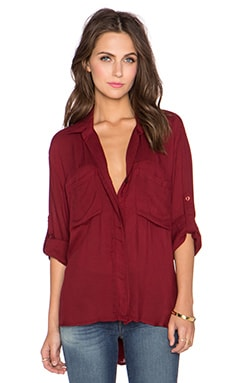 Bella Dahl Split Back Button Down Top in Deep Crimson