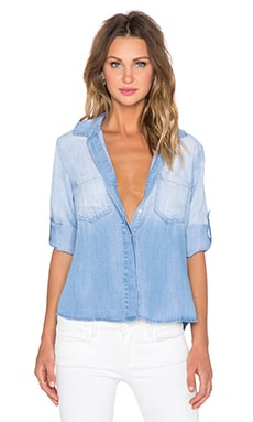 Bella Dahl Split Back Button Up Top in Ombre Wash