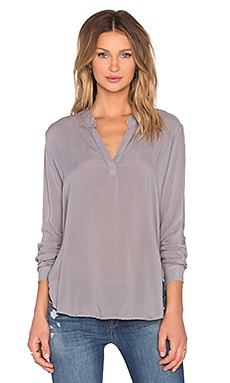 Bella Dahl Long Sleeve Pullover Henley in Oxford Grey