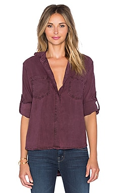 Bella Dahl Split Back Button Up in Pinot Noir