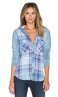 Bella Dahl Hooded Button Up in Light Sky Wash