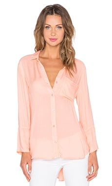 Shirt Tail Button Up Top in Island Coral