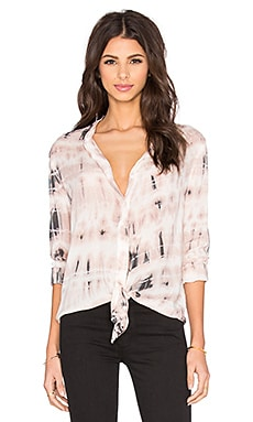 Bella Dahl Long Sleeve Tie Front Top in Pink Sand