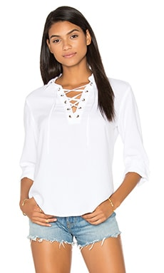 Bella Dahl Lace Up Long Sleeve Top in White