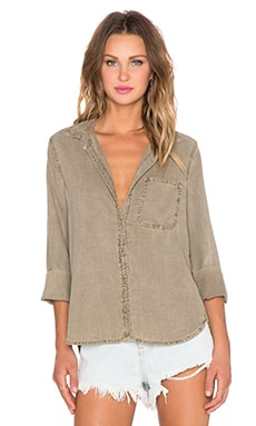 Bella Dahl Shirt Tail Button Up Top in Rustic Olive