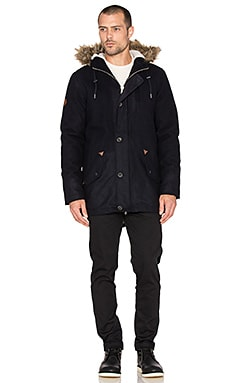 Bellfield Walken Wool Parka in Navy