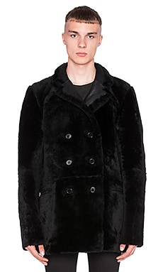 BLK DNM Double Breasted Shearling Leather Coat 9 with Dyed Merino Lamb Fur in Black