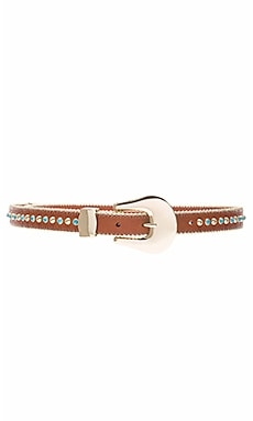 Barcelona Turquoise Belt in Cognac & Gold