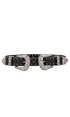 Bri Bri Studded Waist Belt in Black & Silver