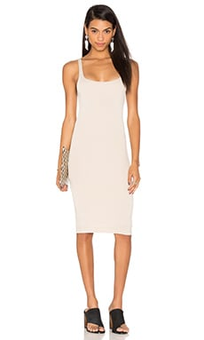 BLQ BASIQ Back Slit Tank Midi Dress in Nude