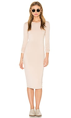 Long Sleeve Midi Dress in Creme