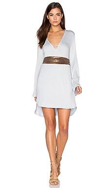 BLQ BASIQ V Neck Long Sleeve Dress in Silver