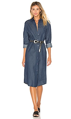 BLQ BASIQ Chambray Shirt Dress in Dark Denim