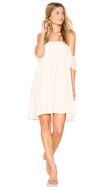 Off Shoulder Baby Doll Dress in Beige