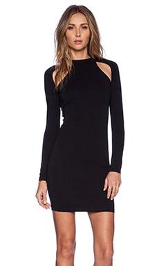 BLQ BASIQ Long Sleeve Cut Out Dress in Black