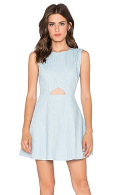 BLQ BASIQ Chambray Dress in Light Blue