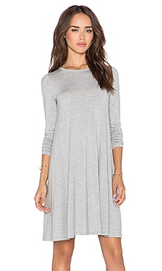 BLQ BASIQ Long Sleeve Swing Dress in Grey